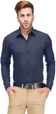 shivam garments Men's Solid Wedding, Party, Formal Blue Shirt