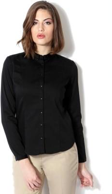 Van Heusen Women's Solid Formal Black Shirt