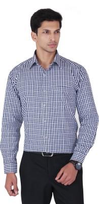 Cocablue Men's Checkered Formal Blue, White Shirt