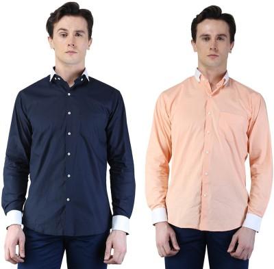 Magnoguy Men's Self Design Casual Blue, Pink Shirt