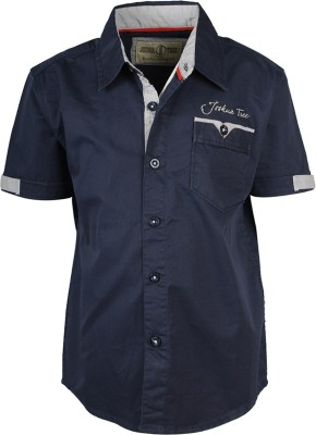 Joshua Tree Boy's Solid Casual Dark Blue Shirt