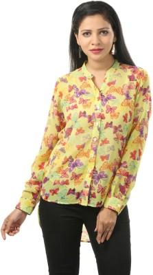 Cambow Women's Printed Casual Yellow Shirt