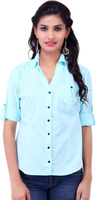 Fbbic Women's Solid Casual Blue Shirt