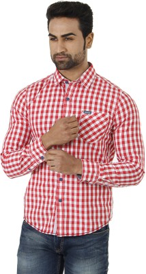 Flying Machine Men's Checkered Formal Red, White Shirt