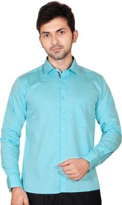 Fabrobe Men's Self Design Casual Light Blue Shirt
