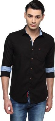 British Club Men's Solid Casual Black Shirt