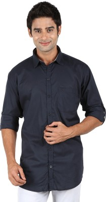 SNC Mens Solid Casual Dark Green Shirt