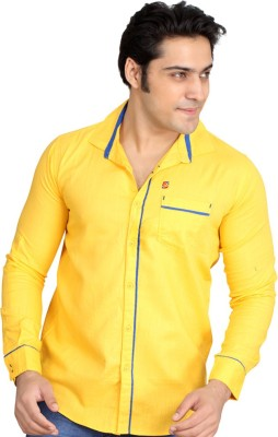 Private Image Men's Solid Casual, Party Yellow Shirt