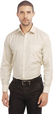 Leo Men's Checkered Formal Beige Shirt