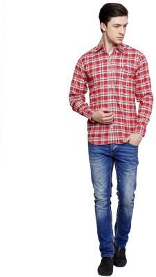 Romanfox Men's Checkered Casual Red Shirt