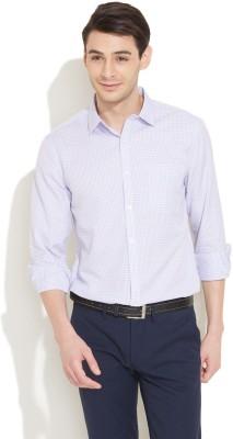 Coast Men's Checkered Formal White Shirt
