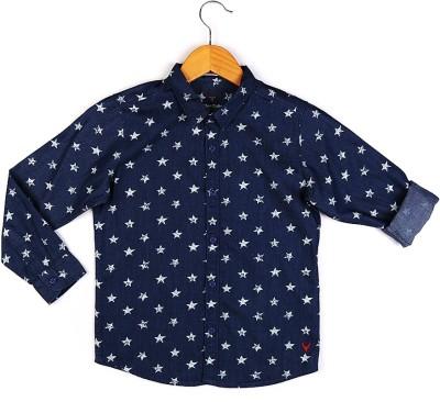 Allen Solly Boy's Printed Casual Dark Blue Shirt