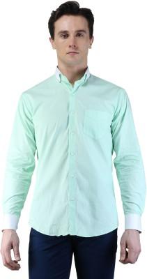 Magnoguy Men's Self Design Casual Light Green, White Shirt