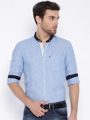Harvard Men's Self Design Casual Linen Blue Shirt
