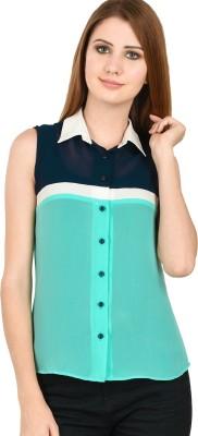 LA ATTIRE Women's Solid Casual Light Green Shirt