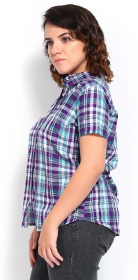 Roadster Women's Checkered Casual Purple Shirt at flipkart