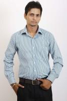 Siera Formal Shirts (Men's) - Siera Men's Striped Formal Green Shirt