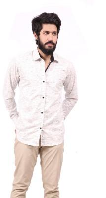 Fadjuice Men's Printed Casual White Shirt