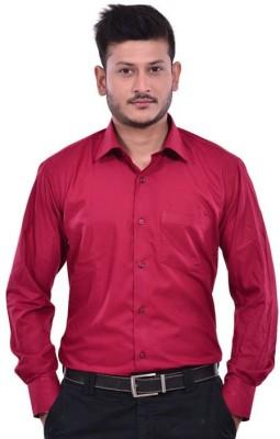 Vkg Men's Solid Formal Maroon Shirt