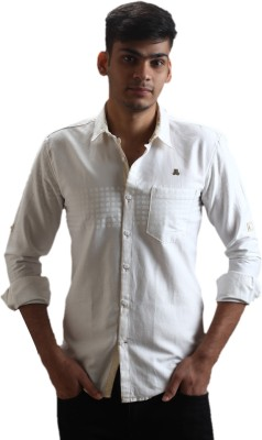 Fashion Bean Men's Solid Casual White Shirt
