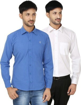 Hi Man Men's Solid Casual White, Blue Shirt