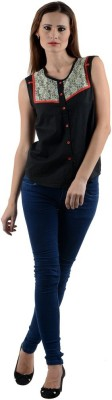 1 For Me Women's Solid Casual Black Shirt