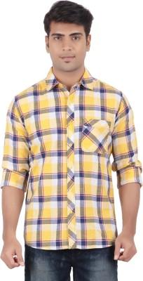 Anytime Men's Checkered Casual Yellow, Dark Blue Shirt