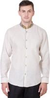 Desam Formal Shirts (Men's) - Desam Men's Solid, Embroidered Formal Linen Beige Shirt