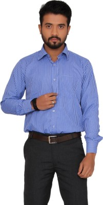 Indian Weller Men's Checkered Formal Blue Shirt