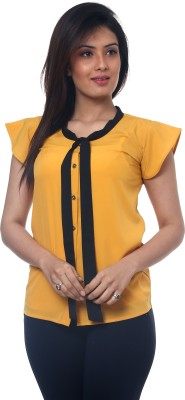 Lynda Women's Solid Casual Yellow Shirt