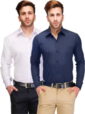Being Fab Men's Solid Casual White, Blue Shirt