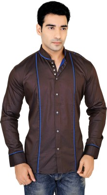 X-Secret Men's Self Design Casual Brown Shirt