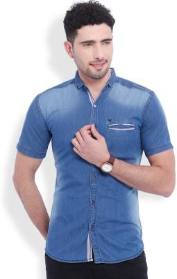 Vintage Men's Solid Casual Denim Light Blue Shirt
