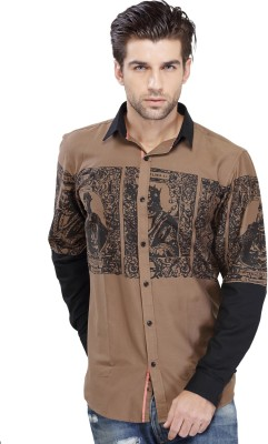 SEVEN STITCHES Men's Graphic Print Casual Brown Shirt