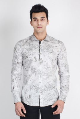 Suchos Men's Printed Casual White, Grey Shirt