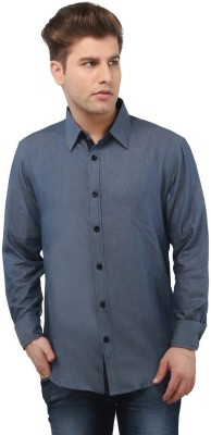 The Cotton Company Men's Solid Casual Blue Shirt