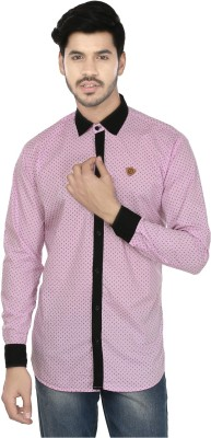 Perky Look Men's Printed Casual Pink, Black Shirt