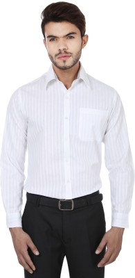Reevolution Men's Striped Casual White Shirt