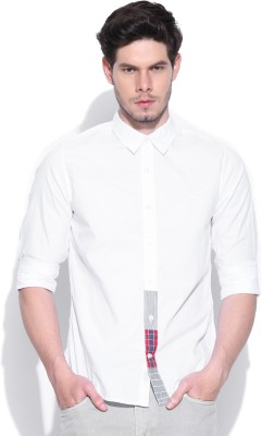 United Colors of Benetton Men's Solid Casual White Shirt