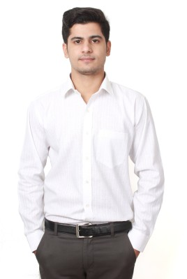 Frissk Men's Self Design Formal White Shirt