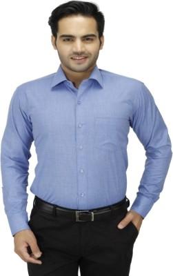 DA VINCI Men's Solid Formal Blue Shirt