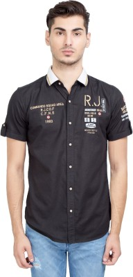 Riot Jeans Men's Embroidered Casual Black Shirt
