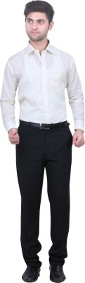 Trustedsnap Men's Solid Formal Linen White Shirt