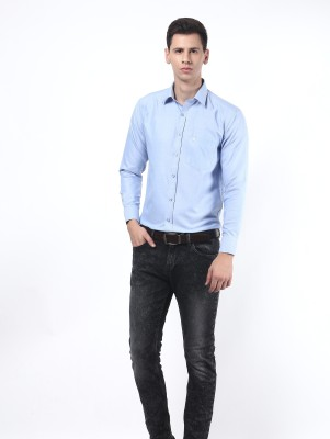 Remo Men's Solid Casual Blue Shirt