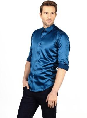 Genesis Men's Solid Party Blue Shirt
