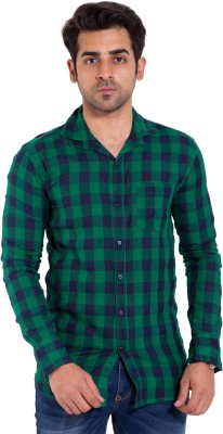LIME TIME Men's Checkered Casual Green Shirt