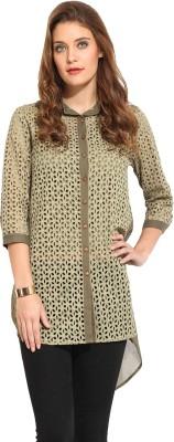 Rena Love Women's Solid Casual Green Shirt
