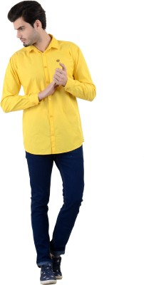 Piccolo Clothings Men's Solid Casual Yellow Shirt