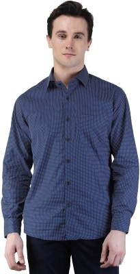 Magnoguy Men's Polka Print Casual Blue Shirt
