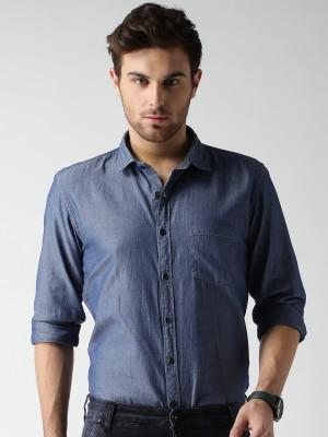 Mast & Harbour Men's Self Design Casual Blue Shirt